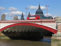 Double-Decker Bus on London's Blackfriars Bridge Royalty Free Stock Photo