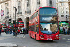 Double decker bus at Piccadilly Circus London. London, England - 15 Oct, 2016: Double Decker red bus at Piccadilly Circus, London. There are iconic symbol for Royalty Free Stock Photography