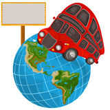 Double decker bus on a planet Royalty Free Stock Photo