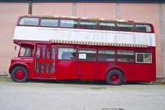 Double-decker bus for sale. Old double-decker for sale in Tistedal for 130,000 Norwegian kroner, about 22,600 U.S dolars. The bus is decorated inside as pub & Stock Image