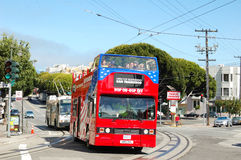 Double Decker bus in SFO Stock Image