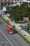 Double Decker bus specially designed for Skopje public transportation. Aerial Stock Photography