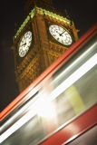 Double Decker Bus Speeding Past Big Ben Stock Photos