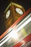 Double Decker Bus Speeding Past Big Ben Stock Photos