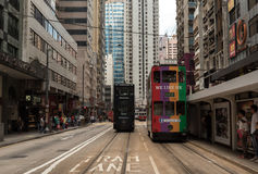 Double-decker bus and tram transportation in Hong Kong. China Royalty Free Stock Photography