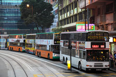 Double decker buses in Hong Kong Stock Images
