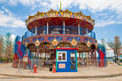 Double decker carousel at children amusement park Stock Photography