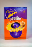 Double Decker Easter Egg. CHESTER, UNITED KINGDOM - March 19 2017: Cadbury`s Double Decker Easter Egg box. A popular chocolate treat for the Easter holidays Royalty Free Stock Images