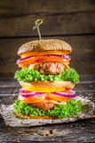 Double-decker homemade burger made ​​from fresh vegetables Stock Photography