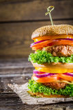 Double-decker homemade hamburger Stock Image