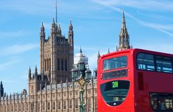 Double Decker and Houses of Parliament,. London, UK Royalty Free Stock Photo