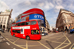 Double decker in London, England. LONDON - OCTOBER 09: Famous red double decker in famous Piccadilly Circus in London, England on October 09, 2012. Piccadilly Royalty Free Stock Image