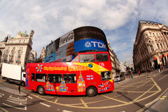 Double decker in London, England. LONDON - OCTOBER 09: Famous red double decker in famous Piccadilly Circus in London, England on October 09, 2012. Piccadilly Stock Photography