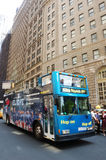 Double decker NYC. The hop on-hop off double decker bus in NYC Stock Photos