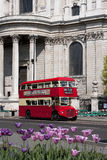 Double decker passing by front of St Paul Stock Photo