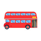 Double decker red bus  illustration, flat design. City public transport service vehicle retro bus, Double decker Isolated On Royalty Free Stock Photo