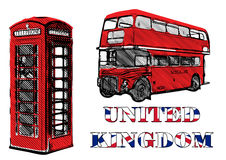 Double decker and red telephone box Stock Images