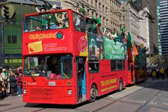 Double decker San Francisco St. Patrick's Parade Royalty Free Stock Photography