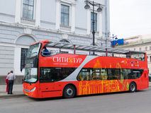 Double decker in St. Petersburg Royalty Free Stock Images