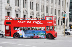 Double-decker tour bus in Montreal Stock Image