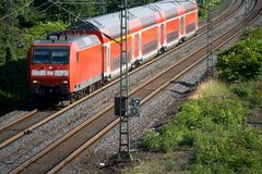 Double-decker Train. German Red Double Decker Train Stock Photography