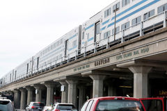 Double Decker train on the tracks at the Babylon train station. Babylon, N.Y. USA - 29 June 2017: View from street level of a double decker train at the Babylon Royalty Free Stock Photography