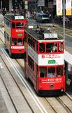 Double-decker tram in Hong Kong. Royalty Free Stock Photography