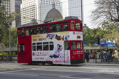 Double-decker tram. HONG KONG - FEBRUARY 23: Double-decker tram on February 23, 2013 in Hong Kong. Hong Kong tram is the only system in the world run with double Royalty Free Stock Images