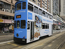 Double-decker tram. HONG KONG - JANUARY 15:Double-decker tram on January 15, 2016 in Hong Kong. Hong Kong tram is the only system in the world run with double Royalty Free Stock Photography
