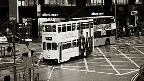 Double-decker tram. HONG KONG - JANUARY 15:Double-decker tram on January 15, 2016 in Hong Kong. Hong Kong tram is the only system in the world run with double Royalty Free Stock Images