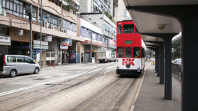 Double-decker tram. HONG KONG - JANUARY 15:Double-decker tram on January 15, 2016 in Hong Kong. Hong Kong tram is the only system in the world run with double Royalty Free Stock Photo