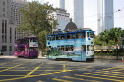 Double-decker tram. HONG KONG - MARCH 05: Double-decker tram on March 05, 2013 in Hong Kong. Hong Kong tram is the only system in the world run with double Royalty Free Stock Photography