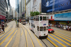 Double-decker tram. HONG KONG - MAY 18: Double-decker tram on May 18, 2014. Hong Kong tram is the only system in the world run with double deckers, major tourist Royalty Free Stock Images