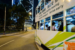 Double-decker tram on street of HK Royalty Free Stock Photo
