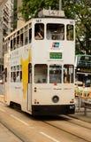Double-decker tram on street of HK Stock Image