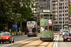 Double-decker tram on street of HK Royalty Free Stock Photography