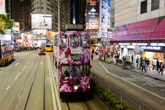 Double-decker tram on street of HK Royalty Free Stock Photos