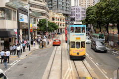 Double-decker tram on street of HK Royalty Free Stock Image