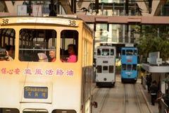 Double-decker tram on street of HK Royalty Free Stock Photo