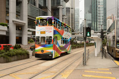 Double-decker tram on street of HK. HONG KONG - MAY 05, 2015: double-decker tram on street of HK. Hong Kong Tramways is a tram system in Hong Kong, being one of Royalty Free Stock Photo