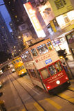 Double-Decker Tram at twilight in Hong Kong. China, Asia Stock Images