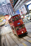 Double-Decker Tram at twilight in Hong Kong. China, Asia Stock Photography