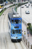 Double decker trams a favorite means of transpotation Hong Kong Stock Image