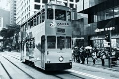 Double-decker trams in Hong Kong. HONG KONG - JANUARY 15,2016: Double-decker trams. Trams also a major tourist attraction and one of the most environmentally Stock Photos