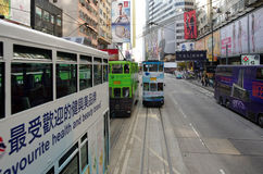 Double-decker trams. HONG KONG - MARCH 05: Double-decker trams on March 05, 2013 in Hong Kong. Hong Kong tram is the only system in the world run with double Stock Photography