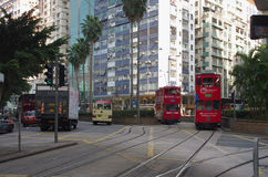 Double-decker trams Stock Photos