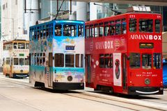 Double decker trams. Stock Images