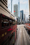 Double decker trams in the streets of Hong Kong. HONG KONG - NOVEMBER 1, 2011: Hong Kong tram it is the only tram system in the world operated exclusively with Stock Photo
