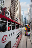 Double decker trams in the streets of Hong Kong Royalty Free Stock Photo