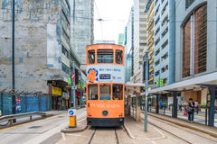 Double-decker trams ways of travelling in Hong Kong Stock Images